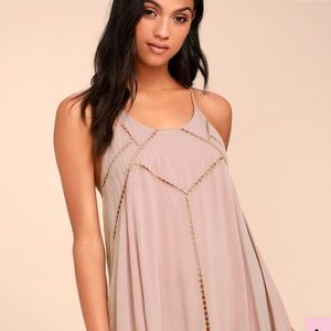 Lulus sister moon mauve embroidered swing dress